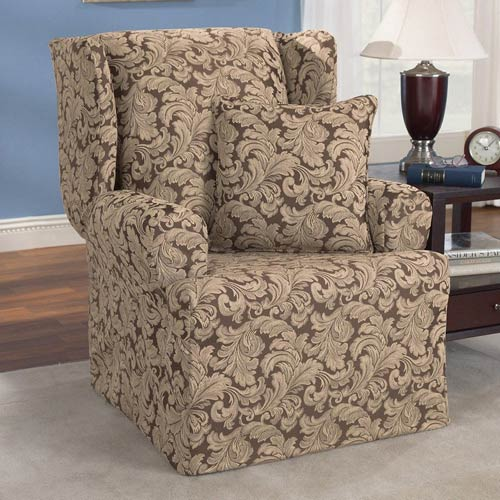 Fantastic Sure Fit Brown Scroll Wing Chair Slipcover Machost Co Dining Chair Design Ideas Machostcouk