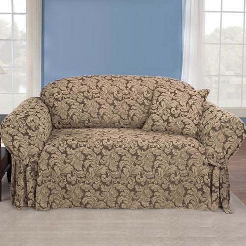 Brown Scroll Sofa Slipcover