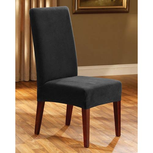 Sure Fit Black Stretch Pique Short Dining Room Chair Slipcover