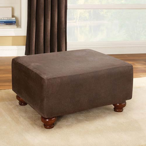 Sure Fit Brown Stretch Leather Ottoman Slipcover
