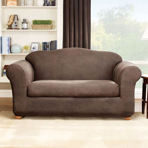 Brown Stretch Leather Loveseat Two Piece Slipcover