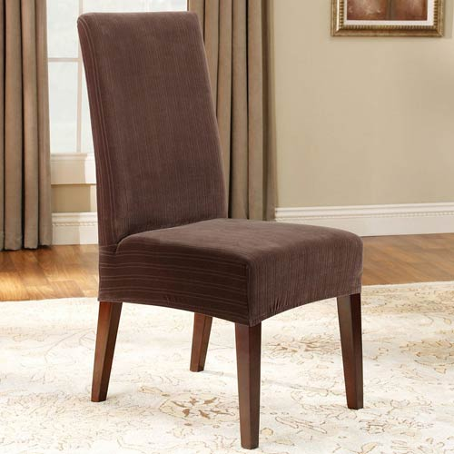 Sure Fit Chocolate Stretch Pinstripe Short Dining Room Chair Cover