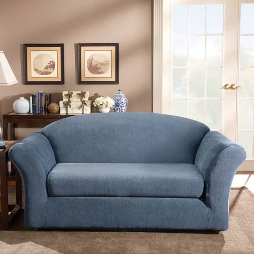 Terrific Sure Fit Navy Stretch Stripe Loveseat Slipcover Ncnpc Chair Design For Home Ncnpcorg