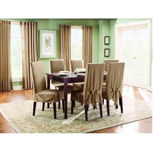 Sure Fit Cocoa Cotton Duck Short Dining Room Chair Slipcover