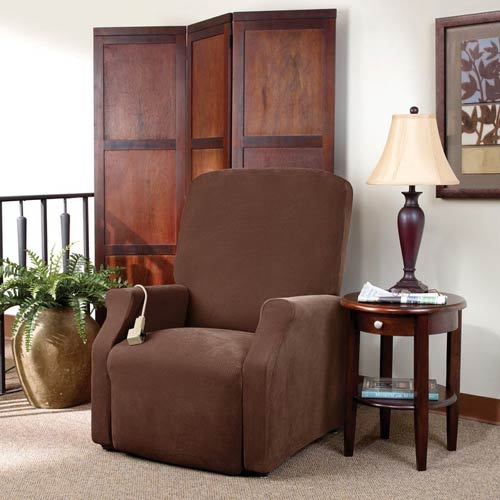 Sure Fit Chocolate Stretch Pique Medium Lift Recliner Slipcover
