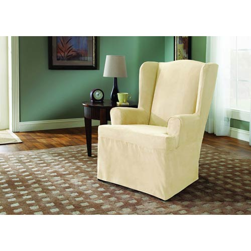 Cream Soft Suede Wing Chair Slipcover