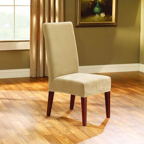 Sure Fit Cream Stretch Pique Short Dining Room Chair Slipcover