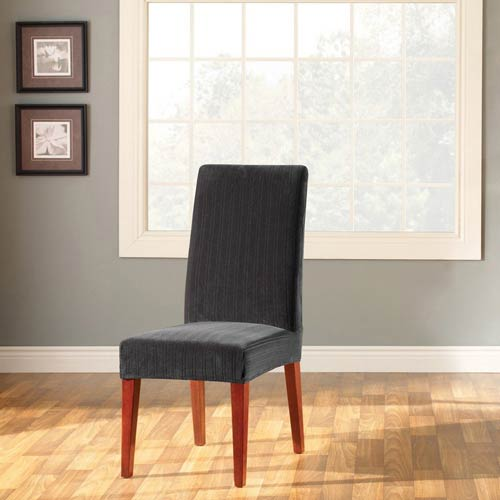 Sure Fit Black Stretch Pinstripe Short Dining Room Chair Cover