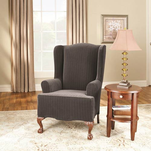 Sure Fit Black Stretch Pinstripe Wing Chair Slipcover