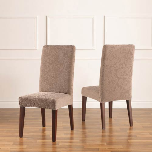 Sure Fit Mushroom Stretch Jacquared Damask Short Dining Chair Cover