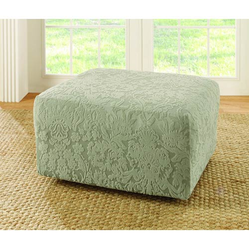 Sure Fit Sage Stretch Jacquard Damask Ottoman Slipcover