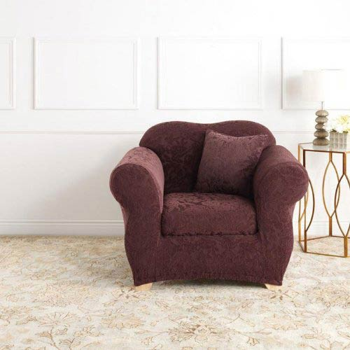 Sure Fit Raisin Stretch Jacquard Damask Chair Slipcover