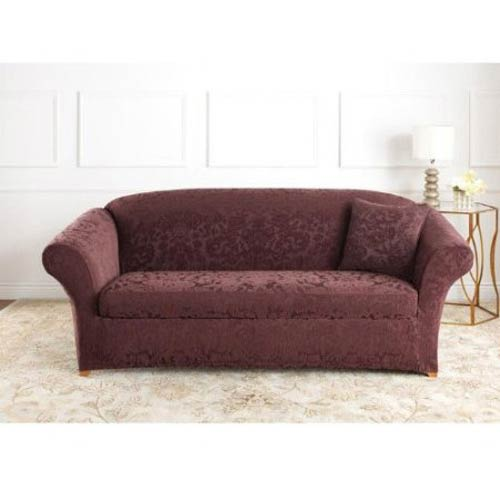 Sure Fit Raisin Stretch Jacquard Damask Sofa Slipcover