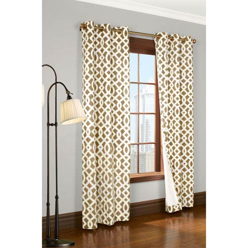 Commonwealth Home Fashions Trellis Khaki 72 X 80 Inch Grommet Curtain Panel Pair