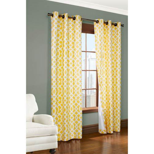 Trellis Yellow 84 x 80-Inch Grommet Curtain Panel Pair