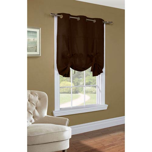 Commonwealth Home Fashions Weathermate Chocolate 63 X 40 Inch Tie Up Curtain Single Panel