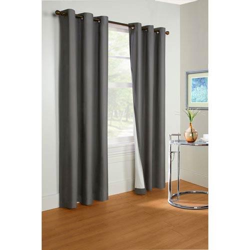 Prelude Dark Grey 95 x 40-Inch Grommet Curtain Single Panel