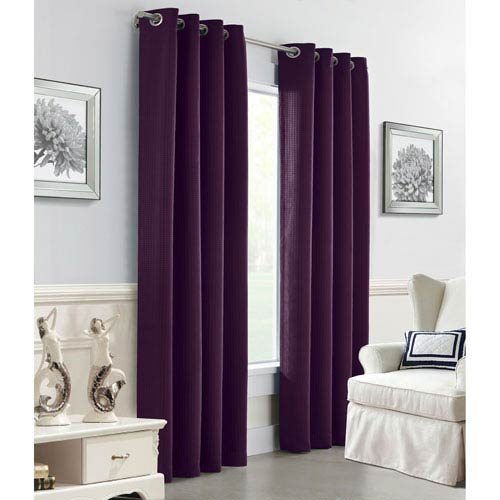 Darcy Aubergine 108 x 54-Inch Grommet Curtain Single Panel