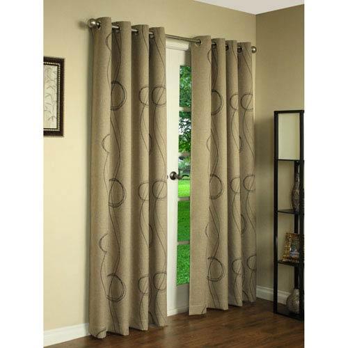 Brooke Beige 84 x 54-Inch Printed Grommet Curtain Single Panel