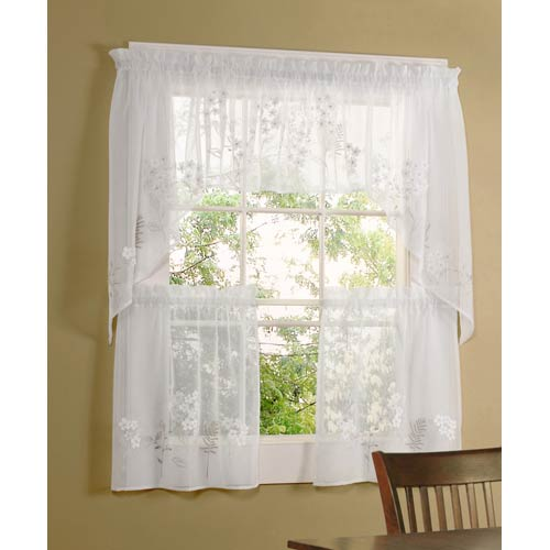 Commonwealth Home Fashions Rhapsody White 54 x 24-Inch Hydrangea Tailored Two Tier Pair Curtain