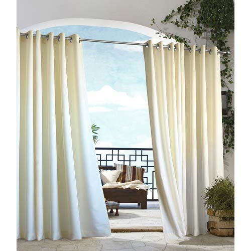 Commonwealth Home Fashions Outdoor Decor Natural 50 x 84-Inch Gazebo Solid Grommet Top Single Panel
