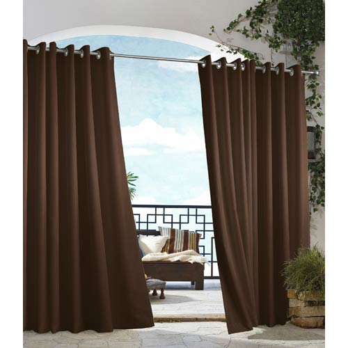 Commonwealth Home Fashions Outdoor Decor Chocolate 50 x 84-Inch Gazebo Solid Grommet Top Single Panel