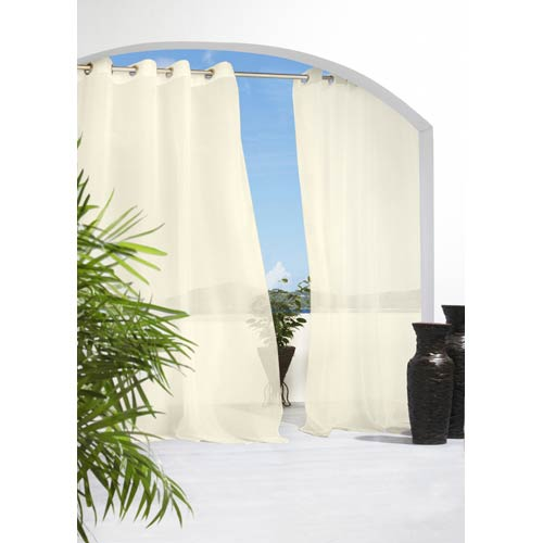 Commonwealth Home Fashions Outdoor Decor Ivory 54 x 108-Inch Escape Grommet Top Single Panel
