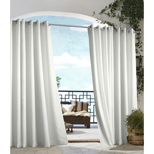 Commonwealth Home Fashions Outdoor Decor White 50 x 96-Inch Gazebo Solid Grommet Top Single Panel