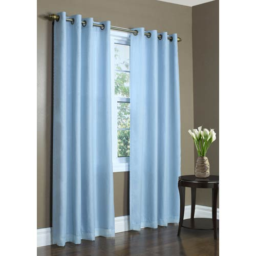 Commonwealth Home Fashions Thermavoile Aqua 84 x 54 In. Rhapsody Lined Grommet Top Single Panel