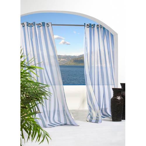 Commonwealth Home Fashions Outdoor Decor Blue 54 x 96-Inch Escape Stripe Grommet Top Single Panel