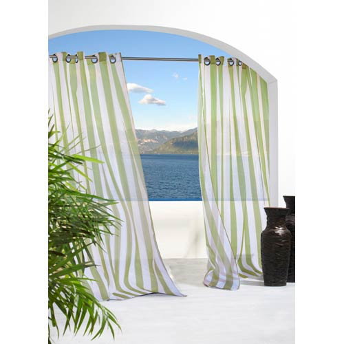 Commonwealth Home Fashions Outdoor Decor Green 54 x 84-Inch Escape Stripe Grommet Top Single Panel