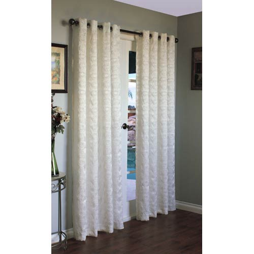 Commonwealth Home Fashions Habitat White 54 x 95-Inch Mayan Grommet Top Single Panel