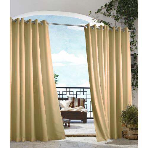Commonwealth Home Fashions Outdoor Decor Khaki 50 x 84-Inch Gazebo Solid Grommet Top Single Panel