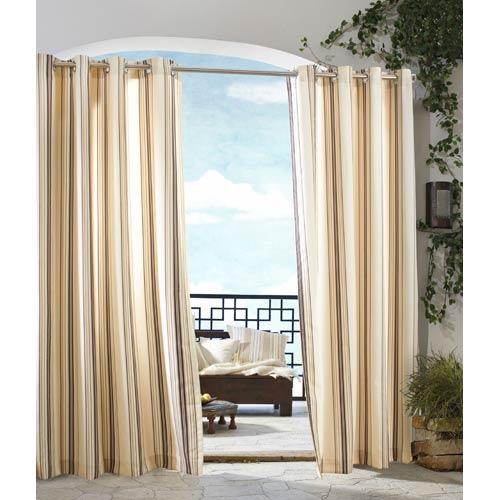 Commonwealth Home Fashions Outdoor Decor Khaki 50 x 84-Inch Gazebo Stripe Grommet Top Single Panel