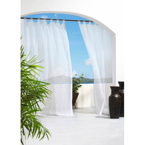 Commonwealth Home Fashions Outdoor Decor White 54 x 108-Inch Escape Hook and Loop Tab Top Single Panel