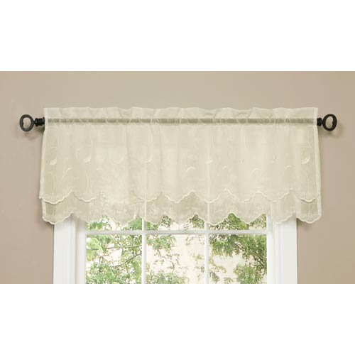 Commonwealth Home Fashions Habitat Cream 54 x 17-Inch Hathaway Double Scalloped Single Valance