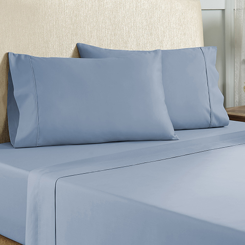 Blue 4 Piece Cal King Cotton Rich Sheet Set