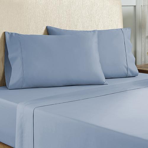 Blue 4 Piece Queen Cotton Rich Sheet Set