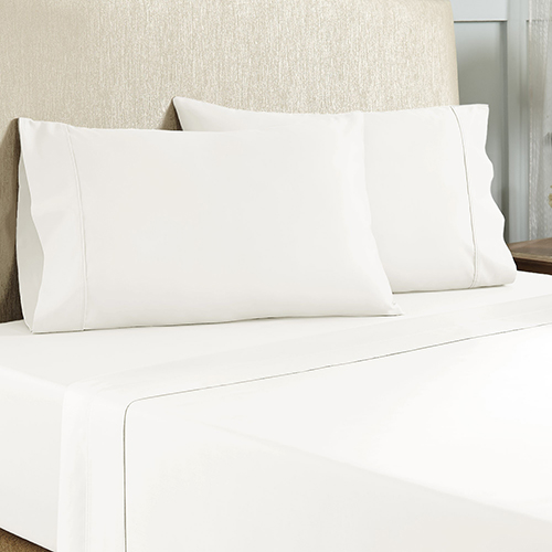 White 4 Piece Queen Cotton Rich Sheet Set