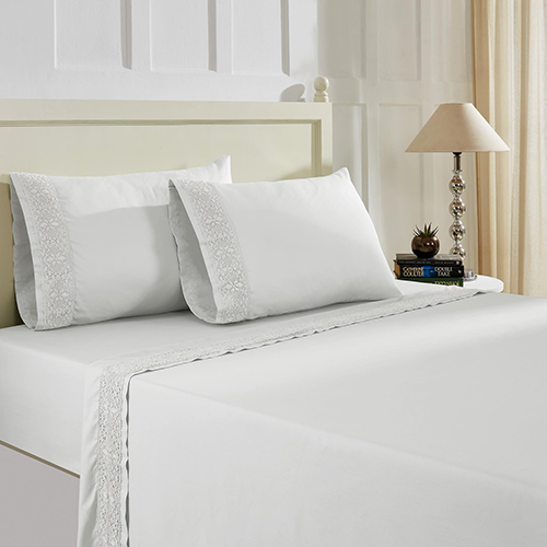 White 4 Piece King Crochet Microfiber Sheet Set With Crystal Lace