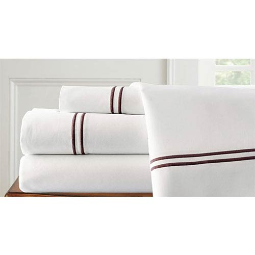 Italian Hotel White and Chocolate Four-Piece 1000 Thread Count Queen Sheet Set