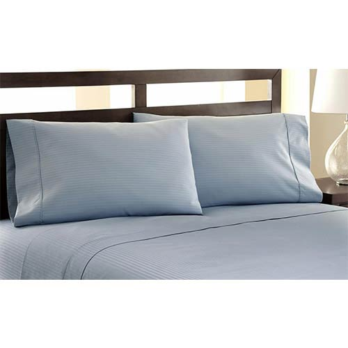 Symphony Blue Four-Piece 1200 Thread Count Damask Stripe Queen Sheet Set
