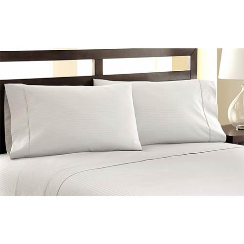 Symphony Ivory Four-Piece 1200 Thread Count Damask Stripe Queen Sheet Set