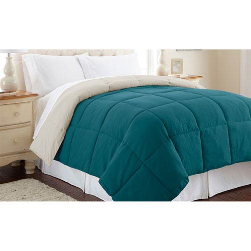 Pacific Coast Textiles Blue Coral and Oatmeal Down Alternative Reversible Twin Comforter