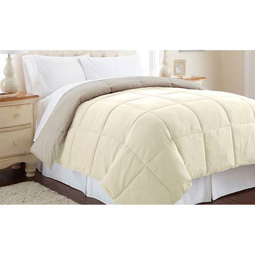 Pacific Coast Textiles Ivory and Atmosphere Down Alternative Reversible Queen Comforter