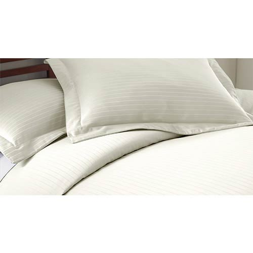 Pacific Coast Textiles Fine Linens Ivory Three Piece 800 Thread Count Damask Stripe Queen Duvet Set