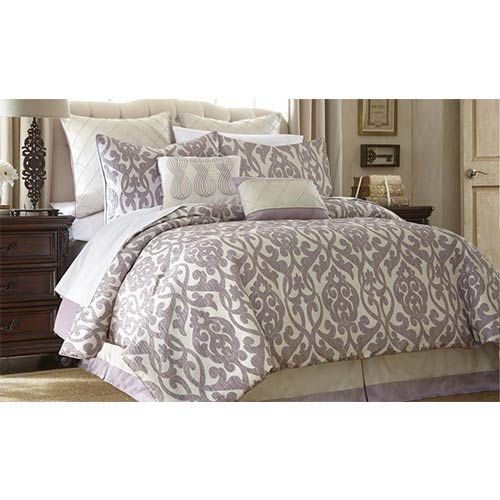 Azlin Lavender and Ivory Eight-Piece Queen Comforter Set