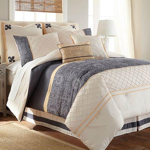 Lyra 8-Piece Blue King Comforter Set