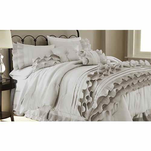 Anastacia Pearl White Eight-Piece Queen Comforter Set