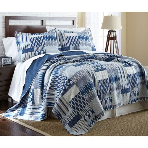 Aubrey Blue Two-Piece Reversible Twin Quilt Set